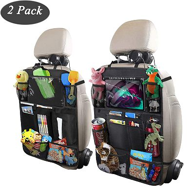 Car Organizer for Kids, ODragon backseat car organizer Kick Mats Back Seat Protectors with Tablet Holder + Storage Pockets for Toys Book Drinks Tissue Umbrella Toddler Travel Accessories(2 Pack)